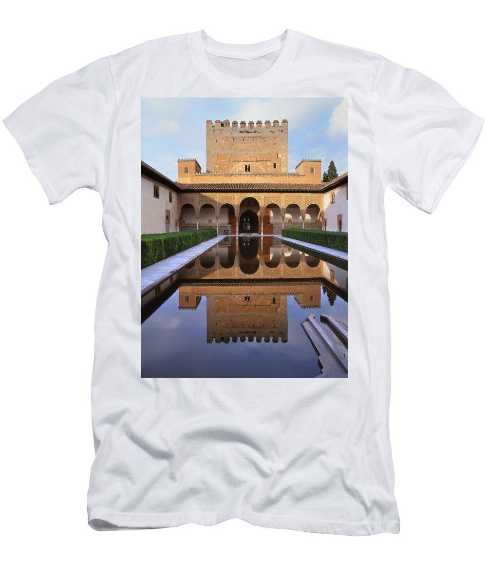 The Alhambra Men's T-Shirt (Athletic Fit) featuring the photograph Patio De Los Arrayanes La Alhambra by Guido Montanes Castillo