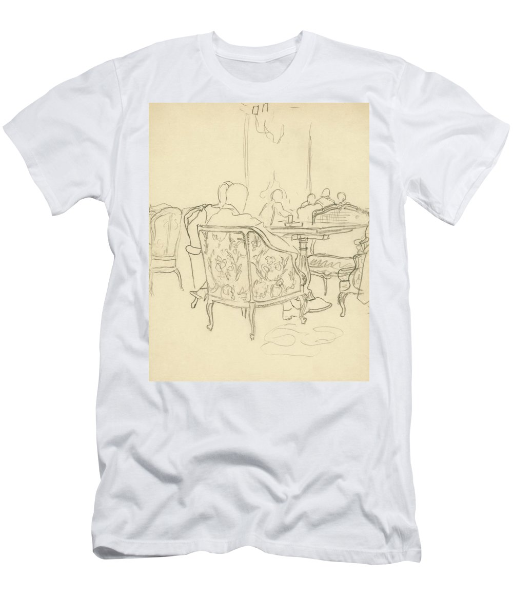 Illustration T-Shirt featuring the digital art Patterned Chairs At A Restaurant by Carl Oscar August Erickson