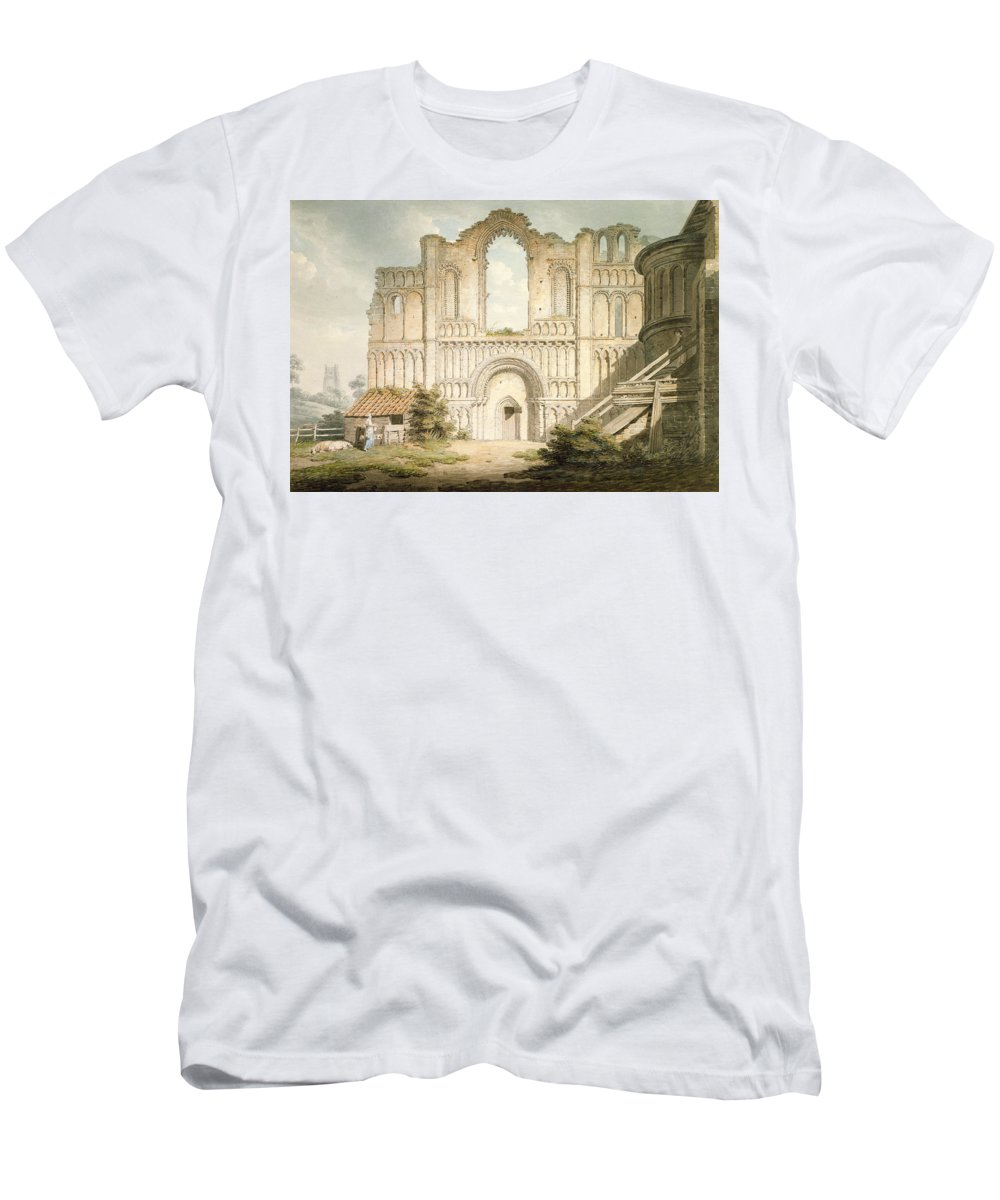 Ruin Men's T-Shirt (Athletic Fit) featuring the drawing Pd.56-1958 West Front Of Castle Acre by Edward Dayes