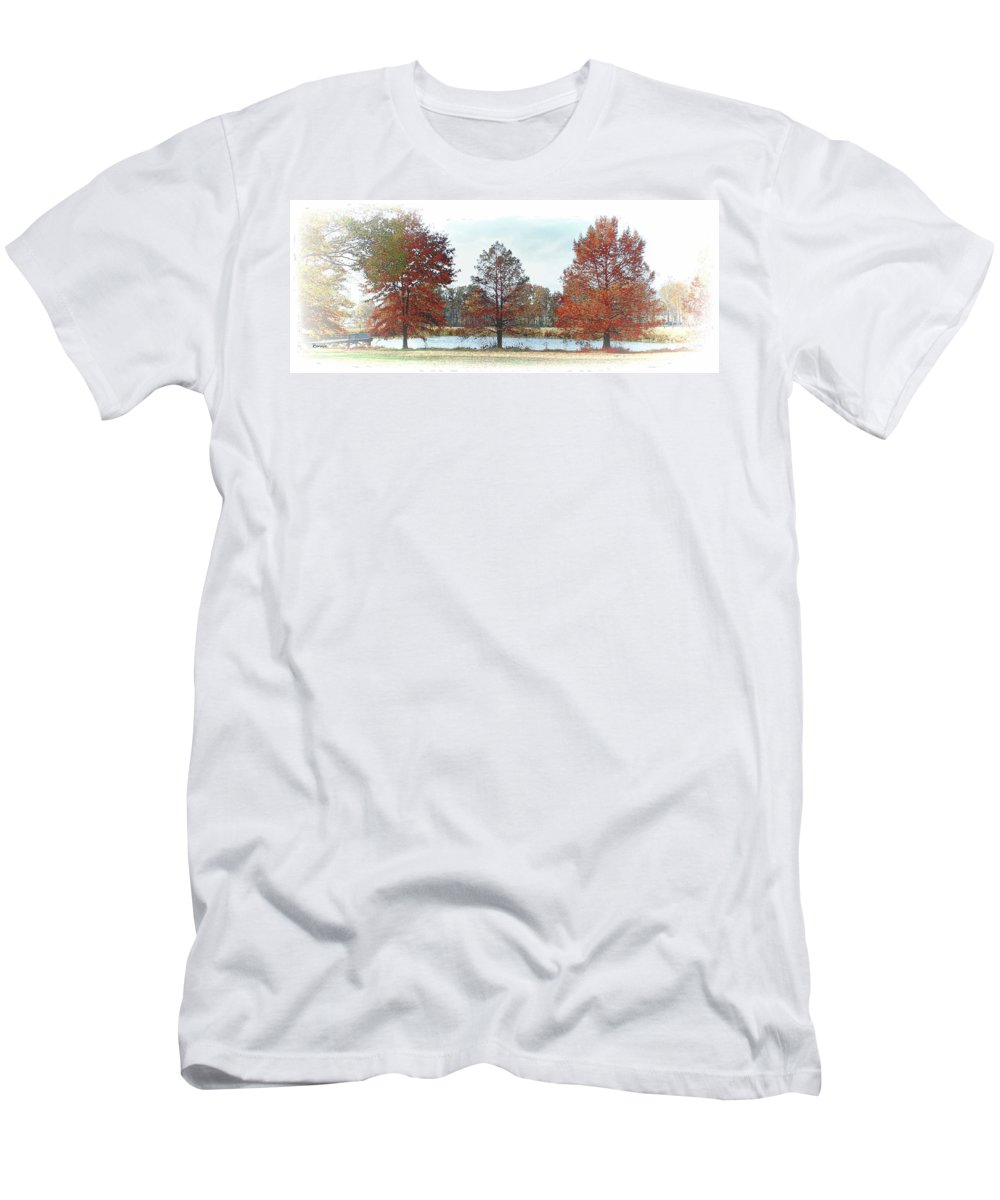 Pond Men's T-Shirt (Athletic Fit) featuring the photograph Peaceful Pond by Bonnie Willis