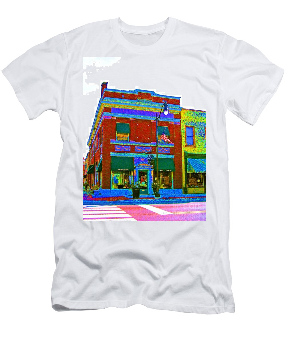 Computer Graphics Men's T-Shirt (Athletic Fit) featuring the photograph Peacock On Third Color Variation by Marian Bell