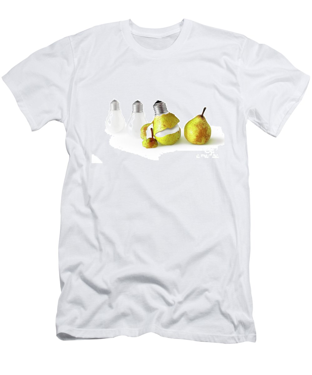 Pear Men's T-Shirt (Athletic Fit) featuring the photograph Peeled Bulb by Carlos Caetano