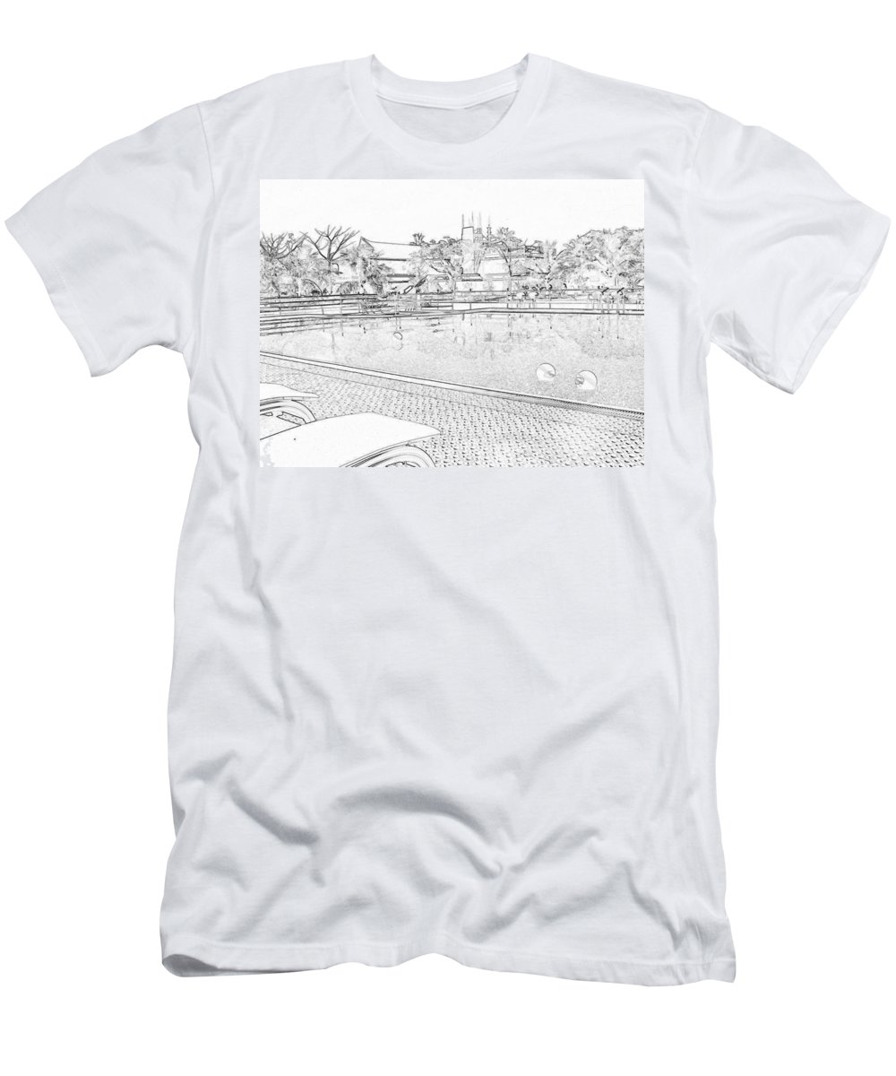 Alleppey Men's T-Shirt (Athletic Fit) featuring the digital art Pencil - Swimming Pool And A Leisure Chair by Ashish Agarwal