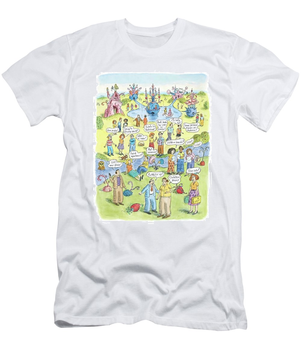 Garden Of Earthly Delights With Apologies To H. Bosch Men's T-Shirt (Athletic Fit) featuring the drawing People Share Good News Around A Garden by Roz Chast