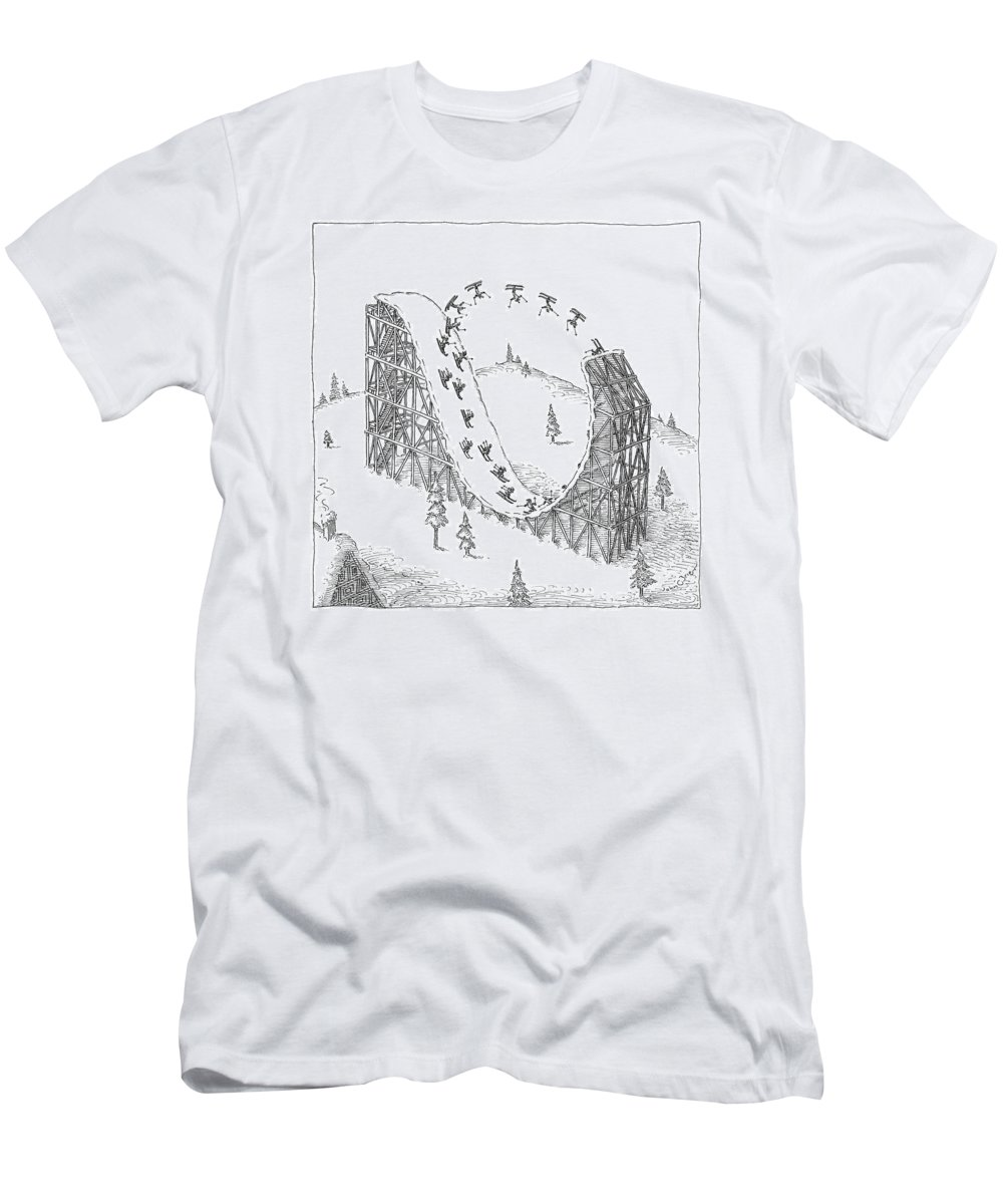 Skiing T-Shirt featuring the drawing People Ski On A Circular Ski Ramp That Resembles by John O'Brien