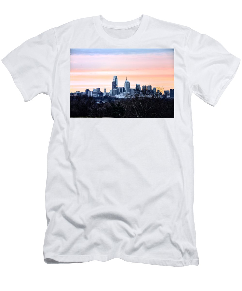 Philadelphia Men's T-Shirt (Athletic Fit) featuring the photograph Philadelphia From Belmont Plateau by Bill Cannon