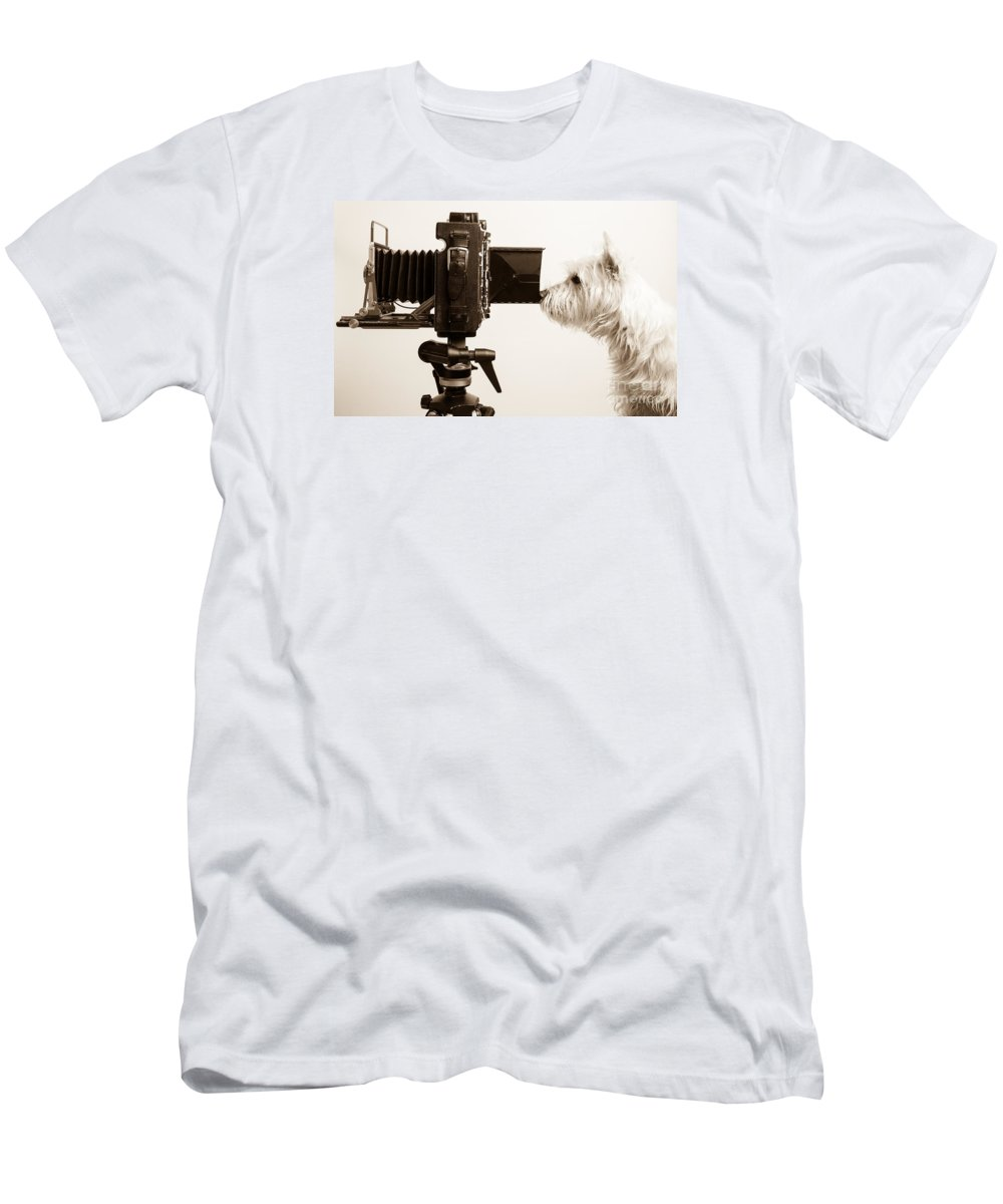 Westie T-Shirt featuring the photograph Pho Dog Grapher by Edward Fielding