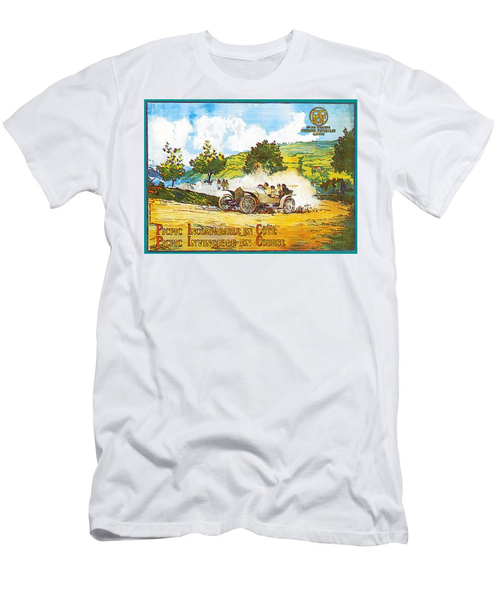 Vintage Automobile Ads And Posters Men's T-Shirt (Athletic Fit) featuring the photograph Picpic Incomparagle En Cote by Vintage Automobile Ads and Posters
