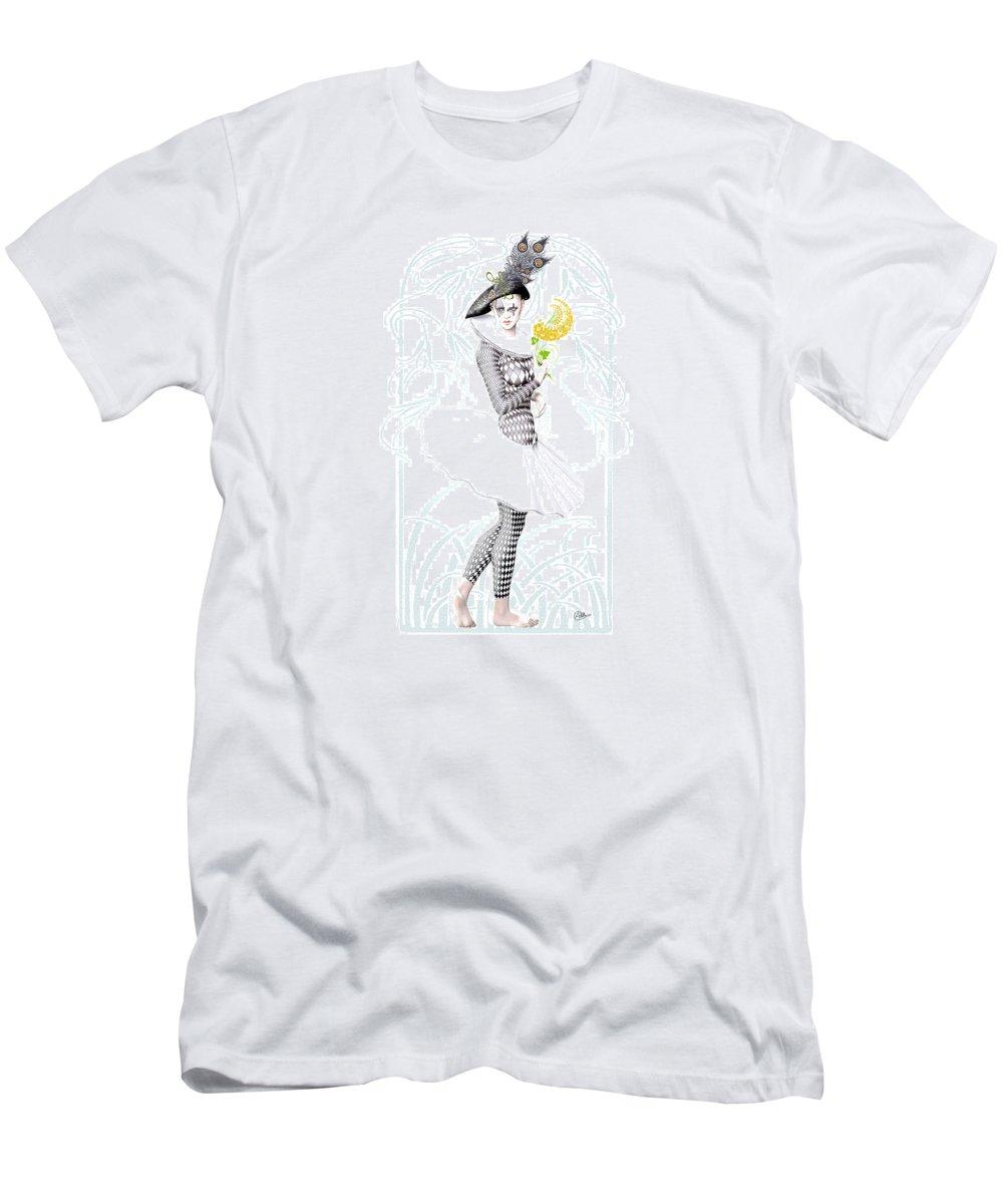 Pierrette Men's T-Shirt (Athletic Fit) featuring the digital art Pierrette In Love by Quim Abella