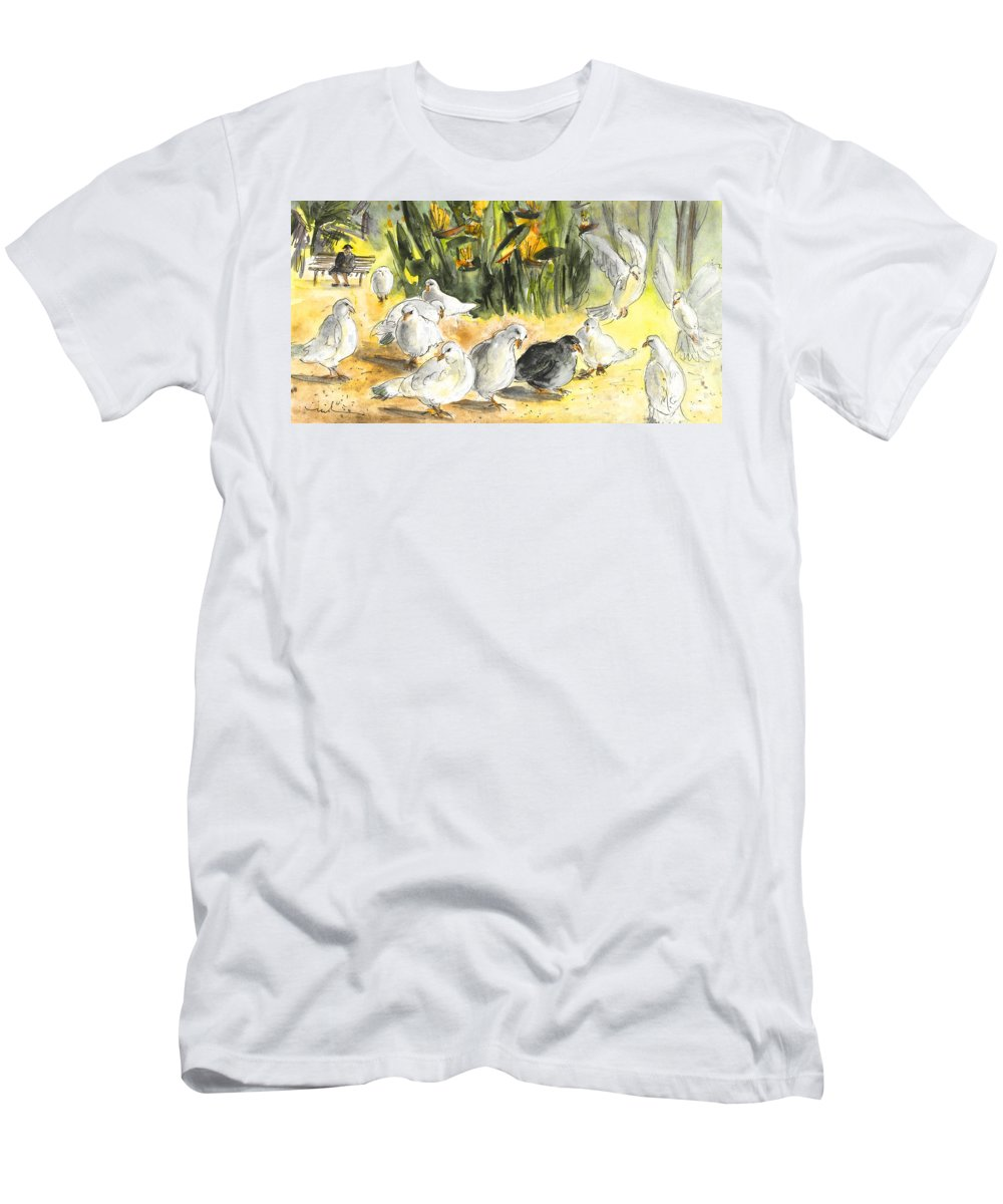 Travel Men's T-Shirt (Athletic Fit) featuring the painting Pigeons In Benidorm by Miki De Goodaboom