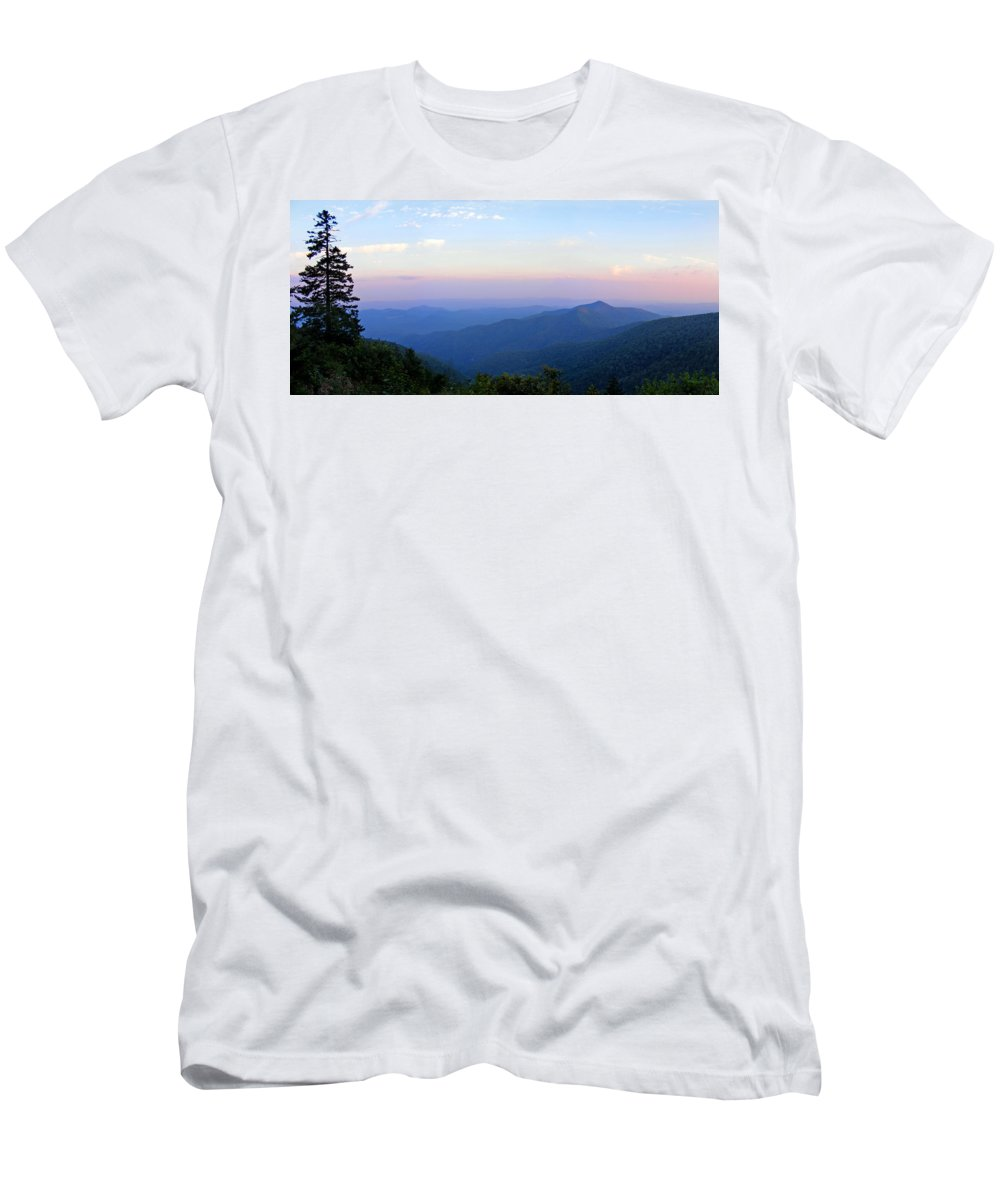 Landscapes. Printscapes Men's T-Shirt (Athletic Fit) featuring the photograph Pilot Mountain In Pisgah National Forest by Duane McCullough