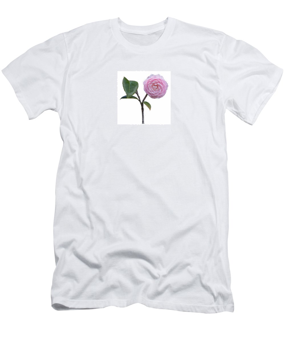 Flower Men's T-Shirt (Athletic Fit) featuring the photograph Pink Camellia On White by John M Bailey