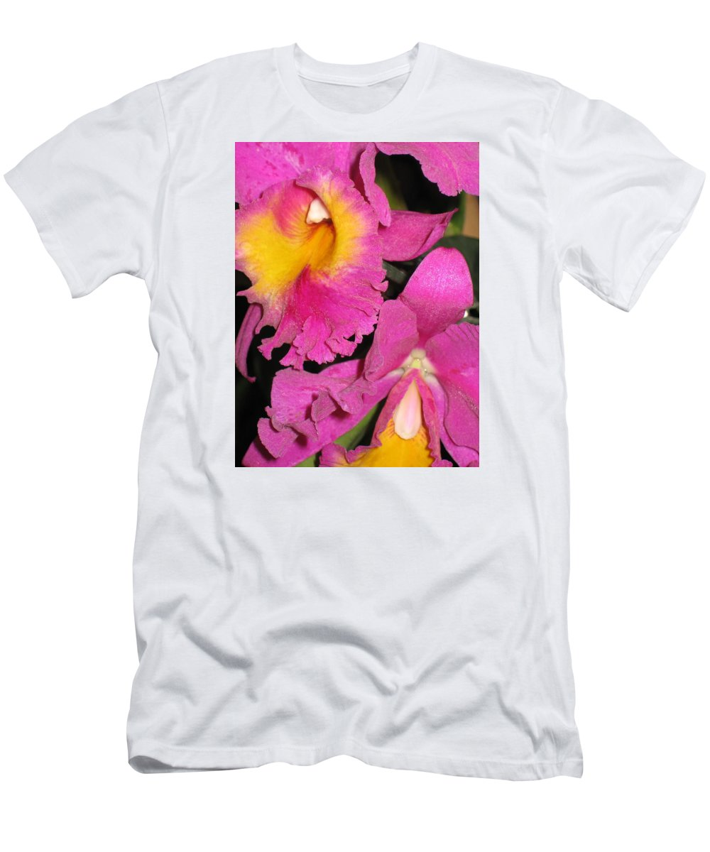 Orchid Men's T-Shirt (Athletic Fit) featuring the photograph Pink Cattleya Orchid by Hope VanCleaf