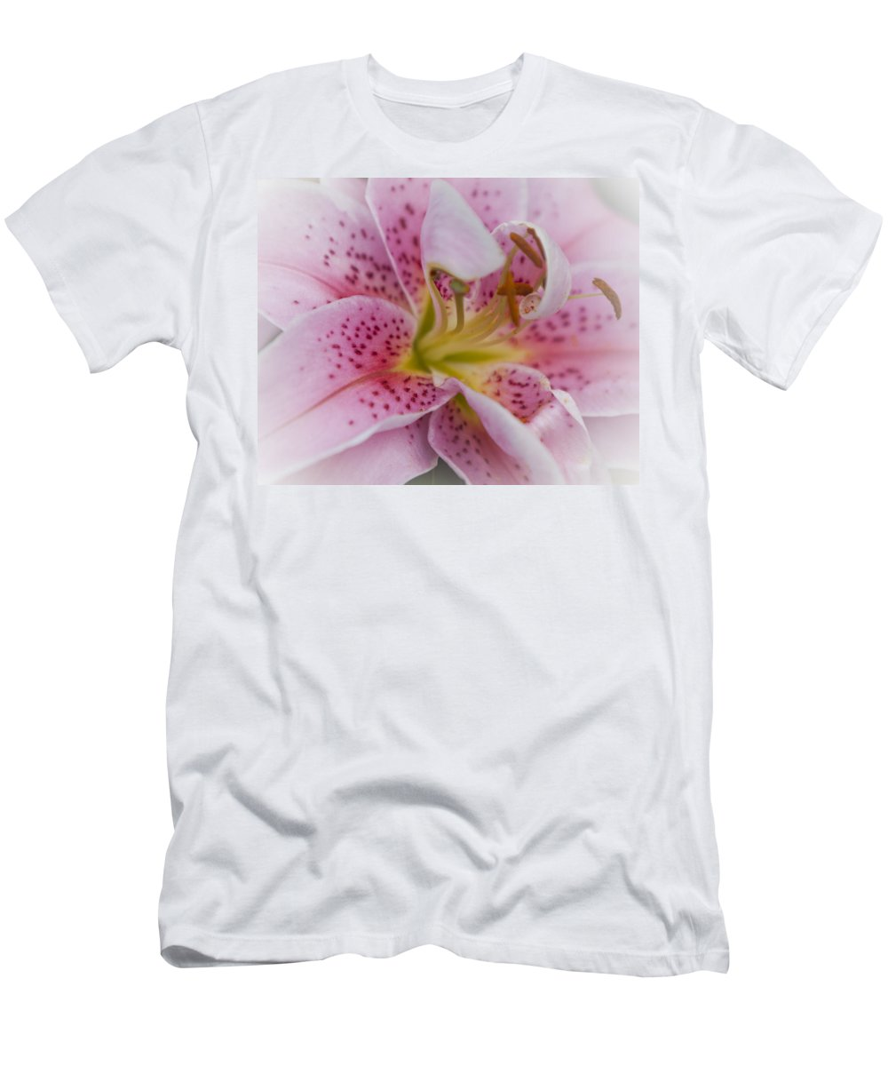 Plant Men's T-Shirt (Athletic Fit) featuring the photograph Pink Spotted Lily by Maj Seda