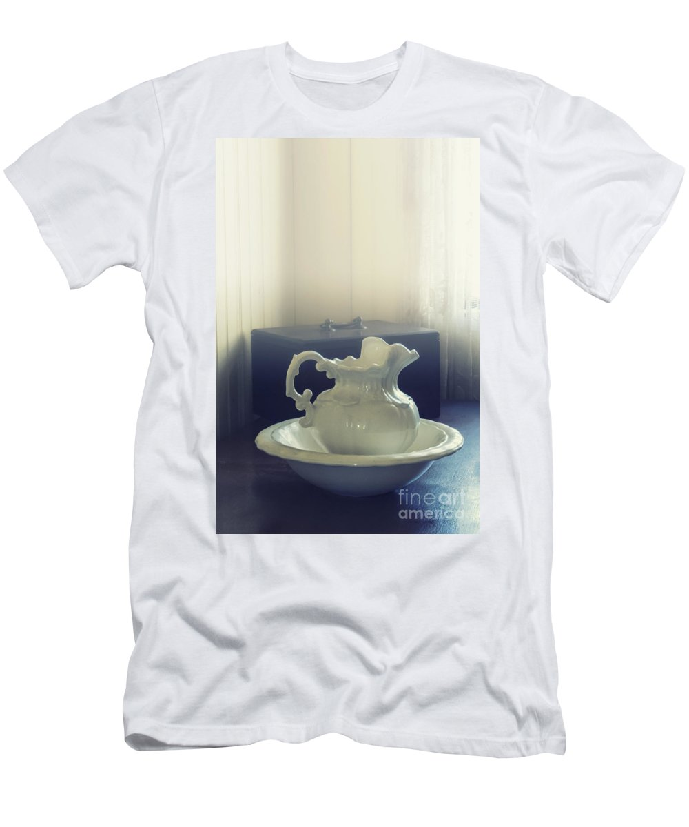White Men's T-Shirt (Athletic Fit) featuring the photograph Pitcher And Basin by Margie Hurwich