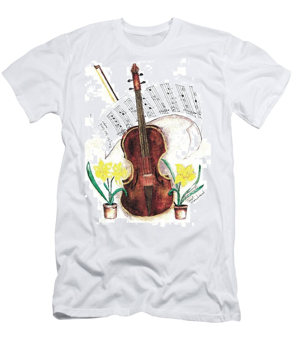 Violin Men's T-Shirt (Athletic Fit) featuring the painting Play To The Lord by Carol Lindquist