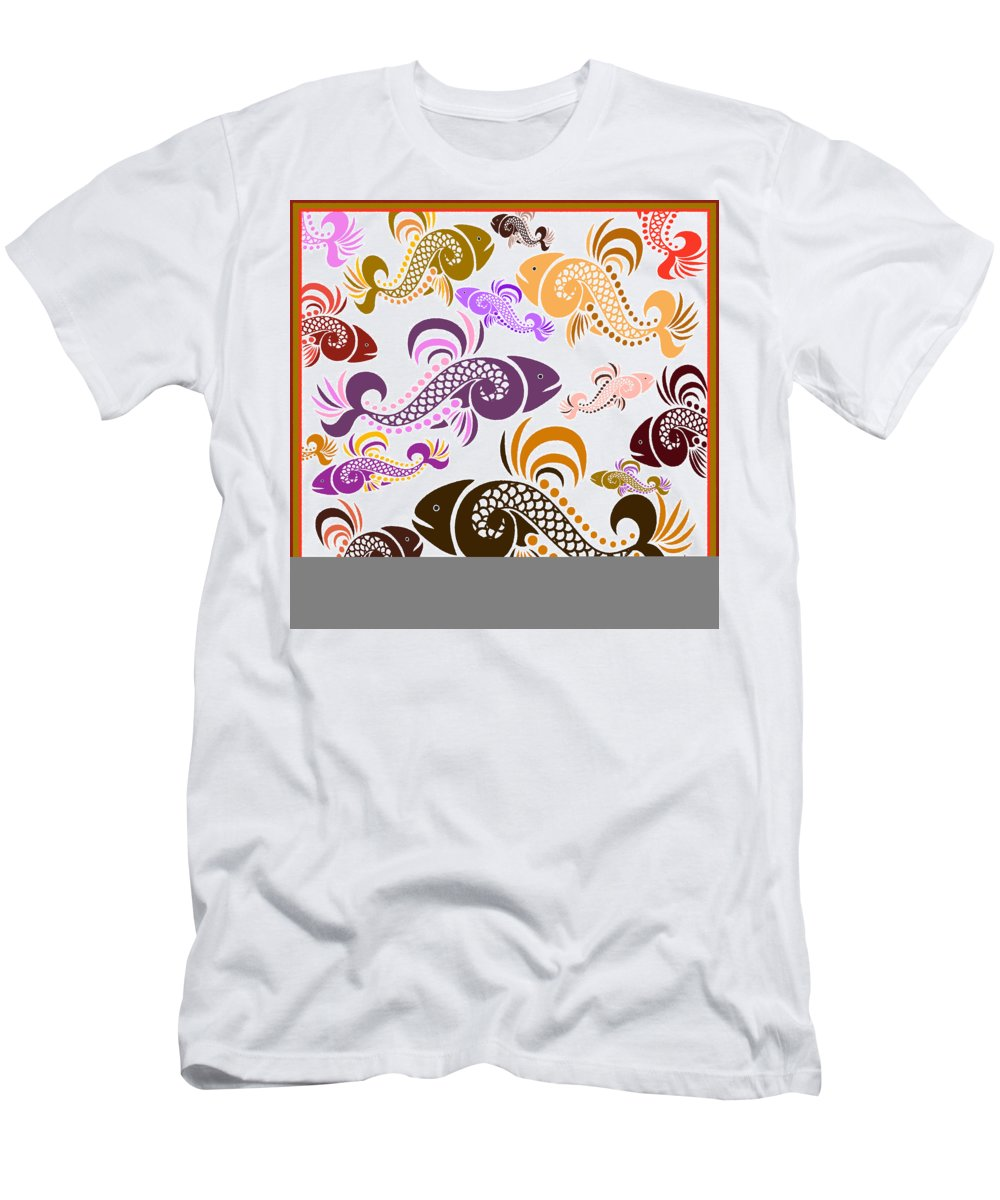 Fish Men's T-Shirt (Athletic Fit) featuring the mixed media Plenty Of Fish In The Sea 5 by Angelina Vick