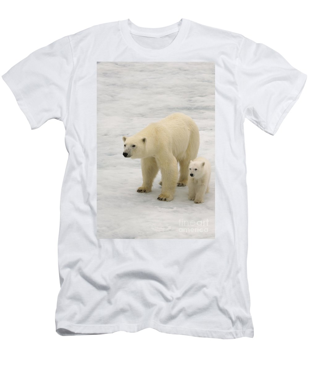 Polar Bear Cub Men's T-Shirt (Athletic Fit) featuring the photograph Polar Bear With Cub by John Shaw