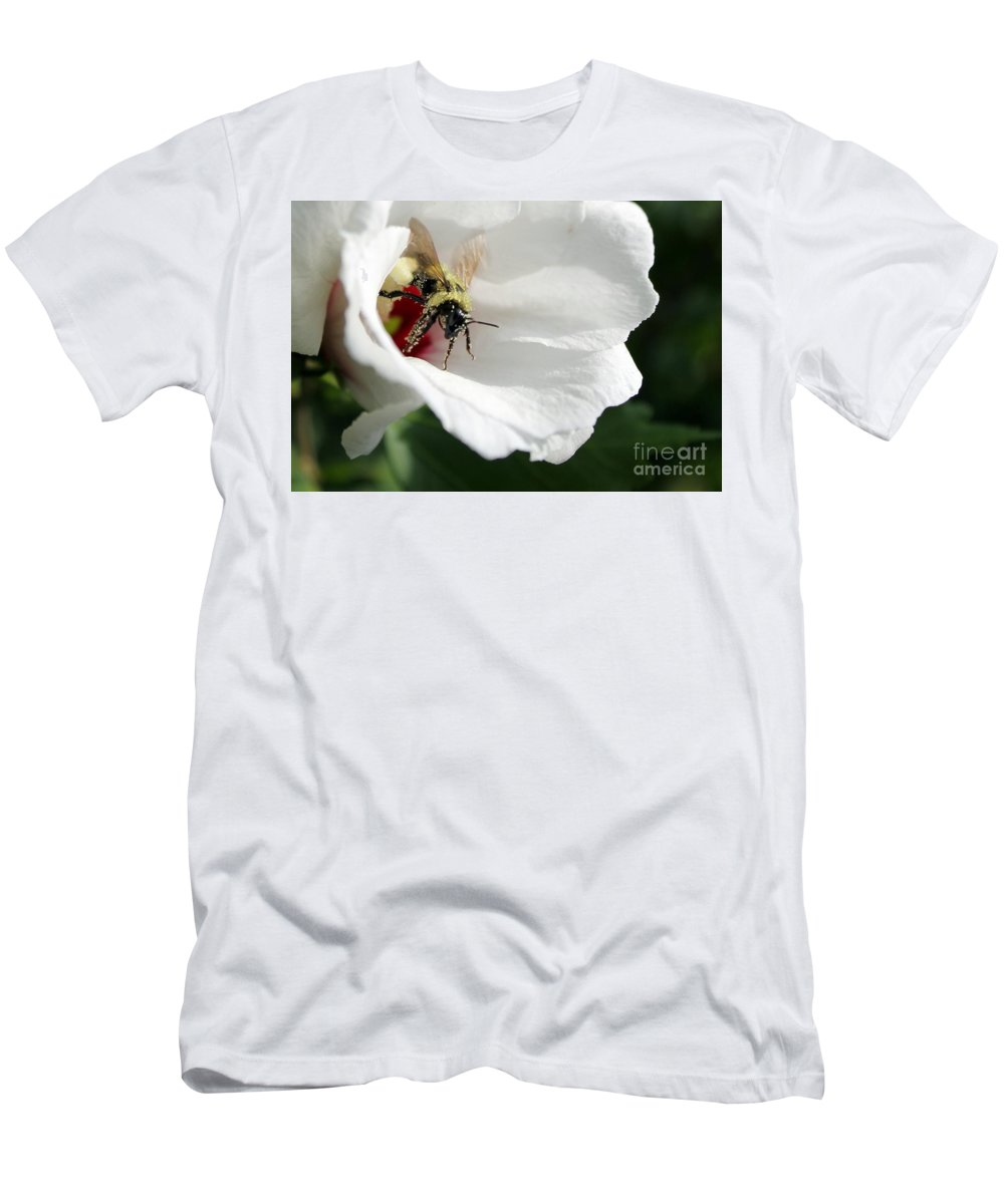 Bumblebee Men's T-Shirt (Athletic Fit) featuring the photograph Pollenated Bumblebee by Renee Croushore