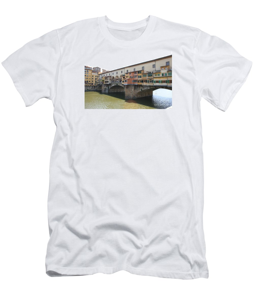 Bridge Men's T-Shirt (Athletic Fit) featuring the photograph Ponte Vecchio - Florence by Christiane Schulze Art And Photography