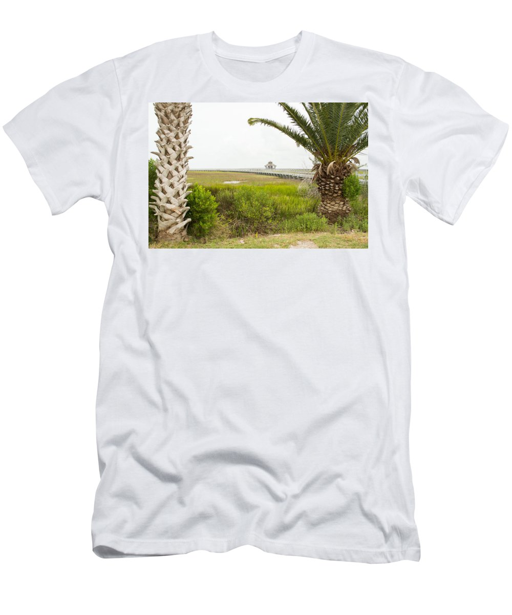 Texas Men's T-Shirt (Athletic Fit) featuring the photograph Port Lavaca Migratory Bird Stopover by JG Thompson