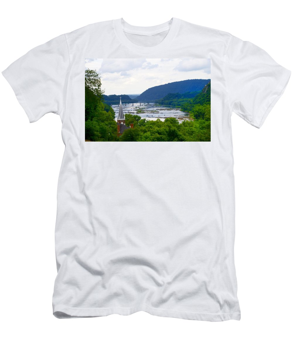 Potomac Men's T-Shirt (Athletic Fit) featuring the photograph Potomac River At Harpers Ferry by Bill Cannon