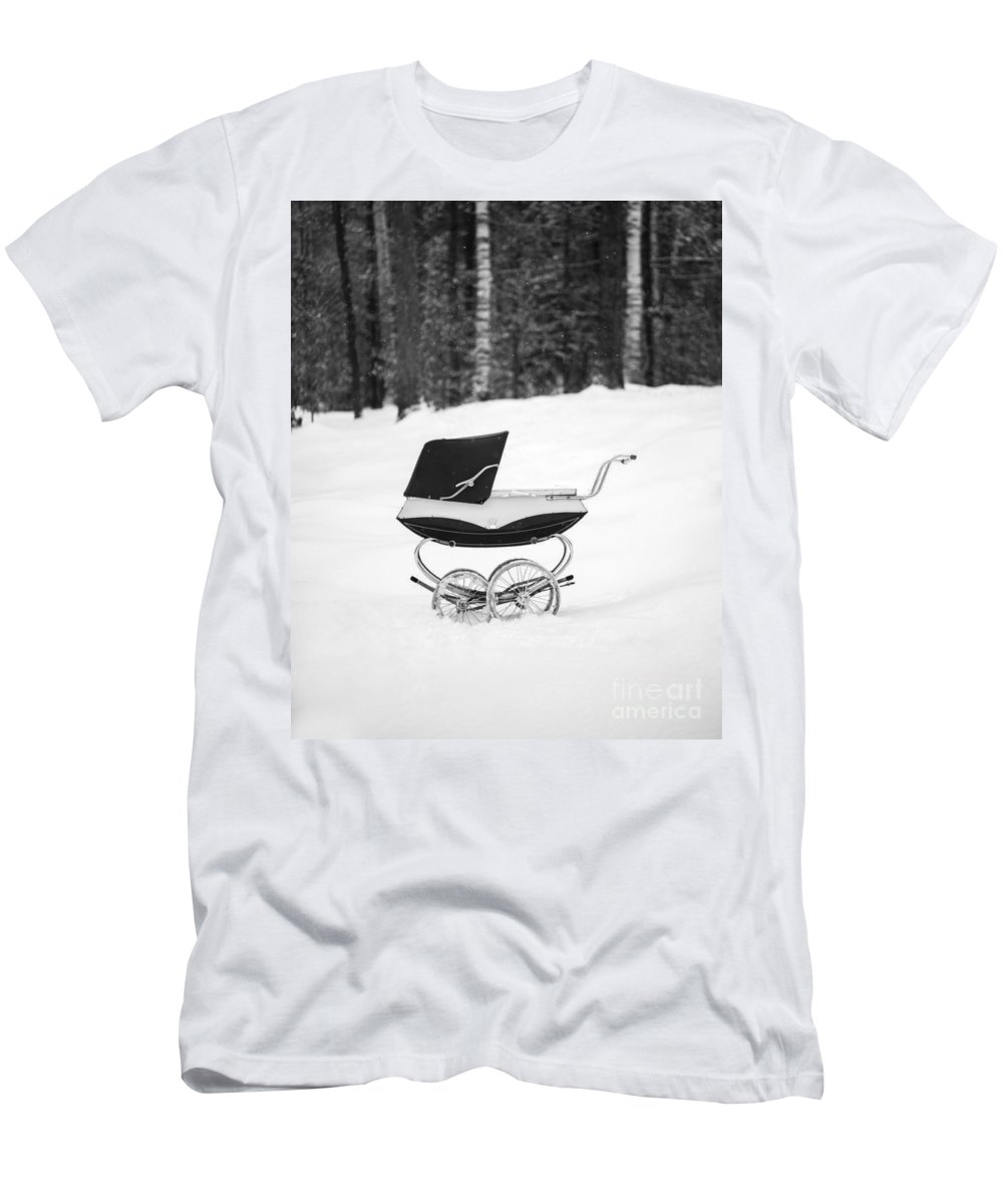 Etna Men's T-Shirt (Athletic Fit) featuring the photograph Pram In The Snow by Edward Fielding