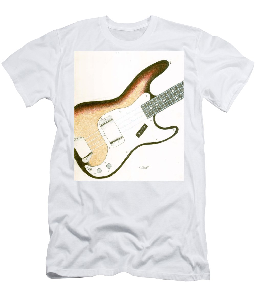 Guitar Men's T-Shirt (Athletic Fit) featuring the drawing Precision by Rick Yost