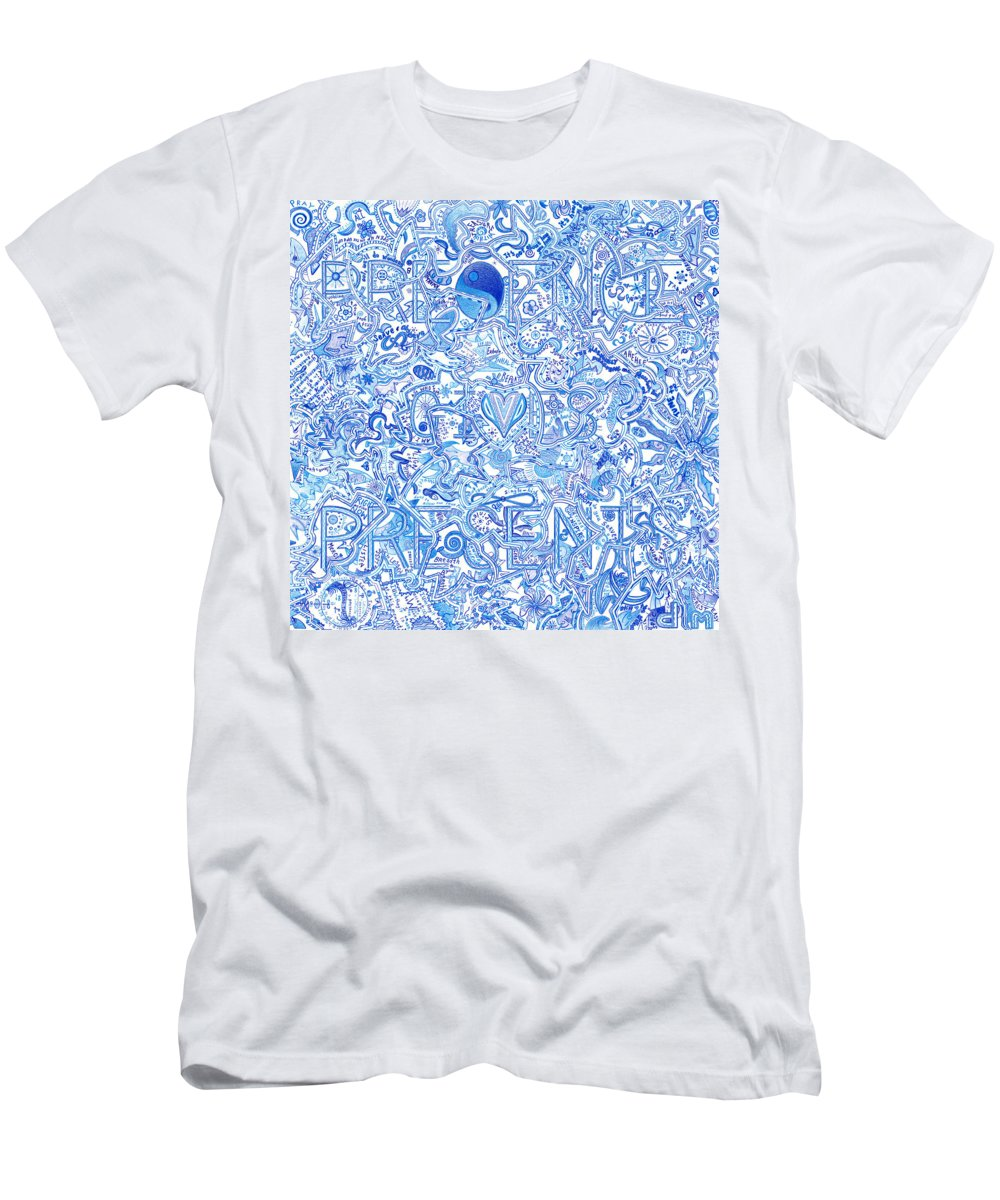 Presence Gives Presents Men's T-Shirt (Athletic Fit) featuring the drawing Presence Gives Presents by Dave Migliore