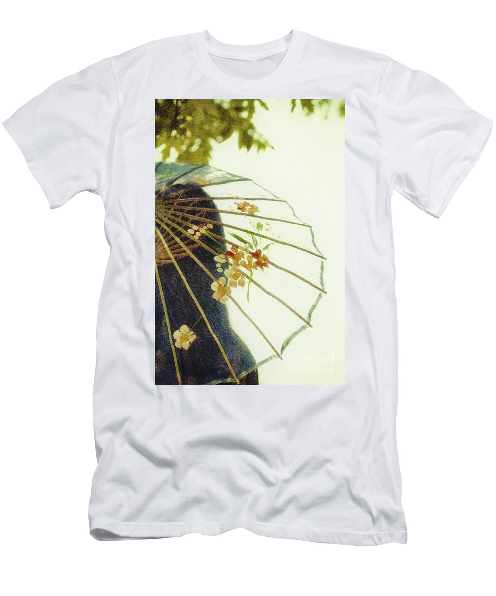 Chinese; Woman; Female; Lady; Pretty; Beautiful; Feminine; Prim; Proper; Umbrella; Shade; Parasol; Cover; Brunette; Decor; Ornate; Orient; Oriental; Leaves Men's T-Shirt (Athletic Fit) featuring the photograph Pristine by Margie Hurwich