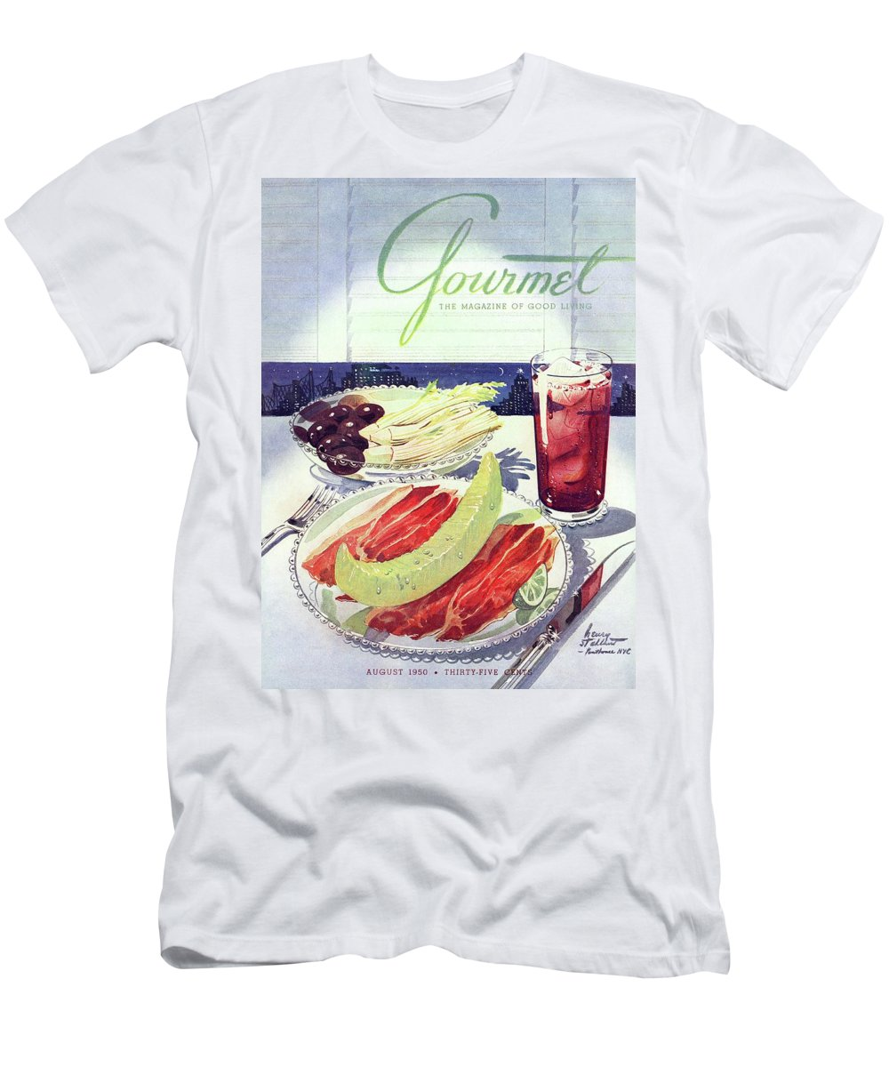 Food Men's T-Shirt (Athletic Fit) featuring the photograph Prosciutto, Melon, Olives, Celery And A Glass by Henry Stahlhut
