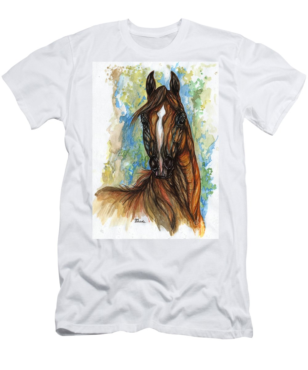 Psychodelic Men's T-Shirt (Athletic Fit) featuring the painting Psychodelic Chestnut Horse Original Painting by Angel Ciesniarska