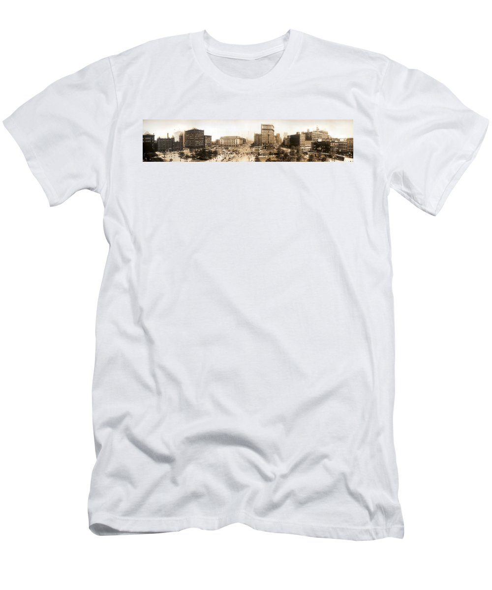 Public Square Cleveland Ohio 1912 Men's T-Shirt (Athletic Fit) featuring the digital art Public Square Cleveland Ohio 1912 by Unknown