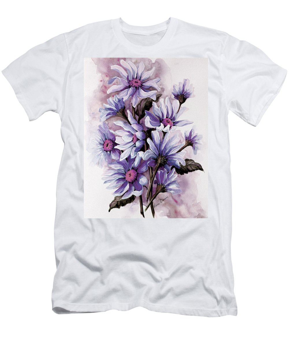 Floral T-Shirt featuring the painting Purple Daisies by Karin Dawn Kelshall- Best