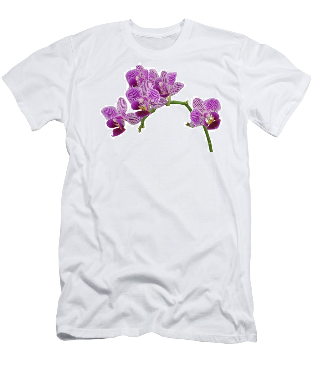 Orchid Men's T-Shirt (Athletic Fit) featuring the photograph Purple Orchid-3 by Rudy Umans