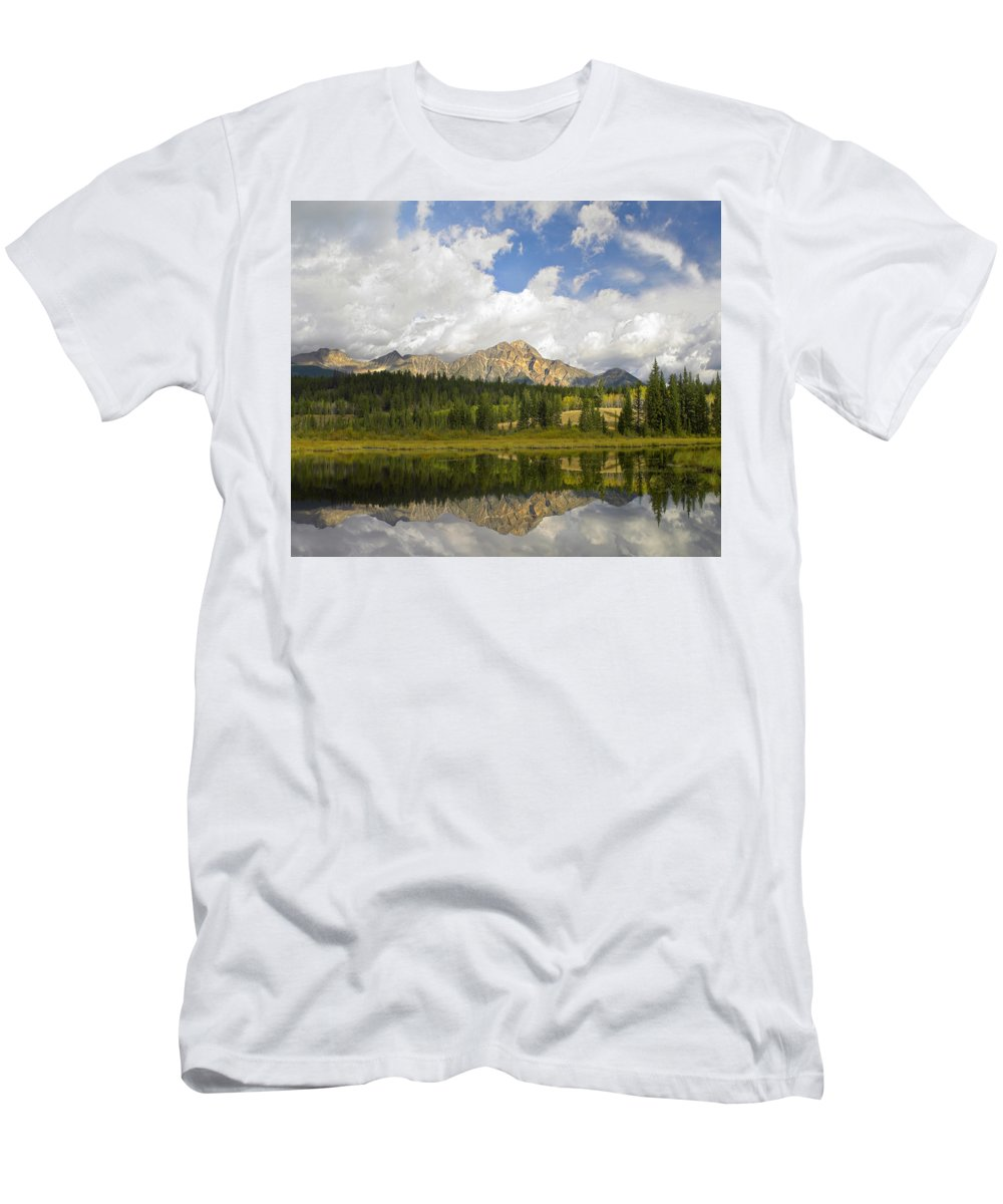 Feb0514 Men's T-Shirt (Athletic Fit) featuring the photograph Pyramid Mountain And Cottonwood Slough by Tim Fitzharris