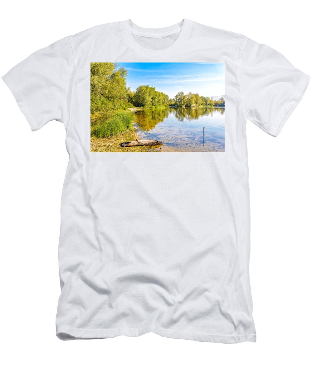 Dnieper Men's T-Shirt (Athletic Fit) featuring the photograph Quiet River With Trees by Alain De Maximy