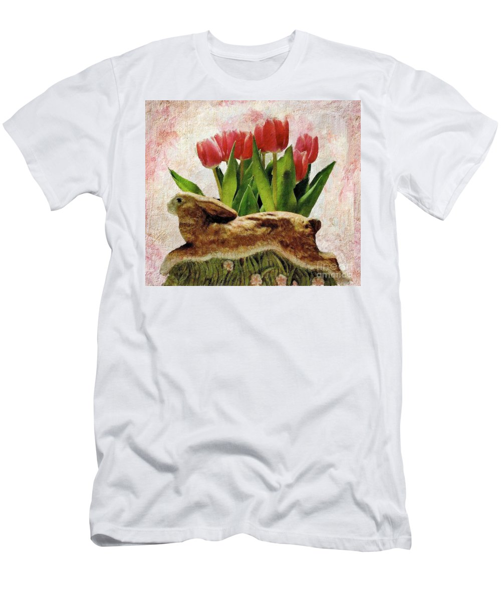 Rabbit Men's T-Shirt (Athletic Fit) featuring the photograph Rabbit And Pink Tulips by Janette Boyd