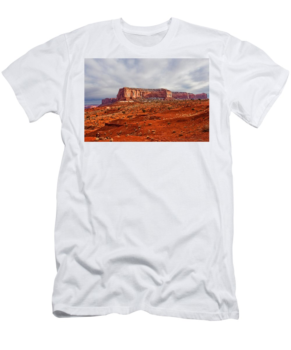 Butte Men's T-Shirt (Athletic Fit) featuring the photograph Rain God Mesa by Peter Tellone