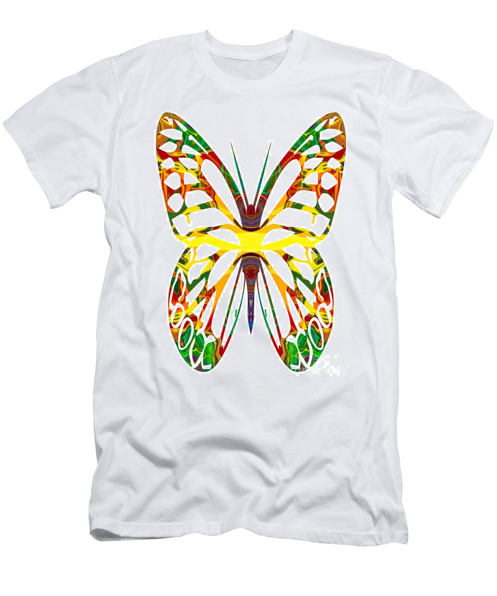 5x7 Men's T-Shirt (Athletic Fit) featuring the painting Rainbow Butterfly Abstract Nature Artwork by Omaste Witkowski