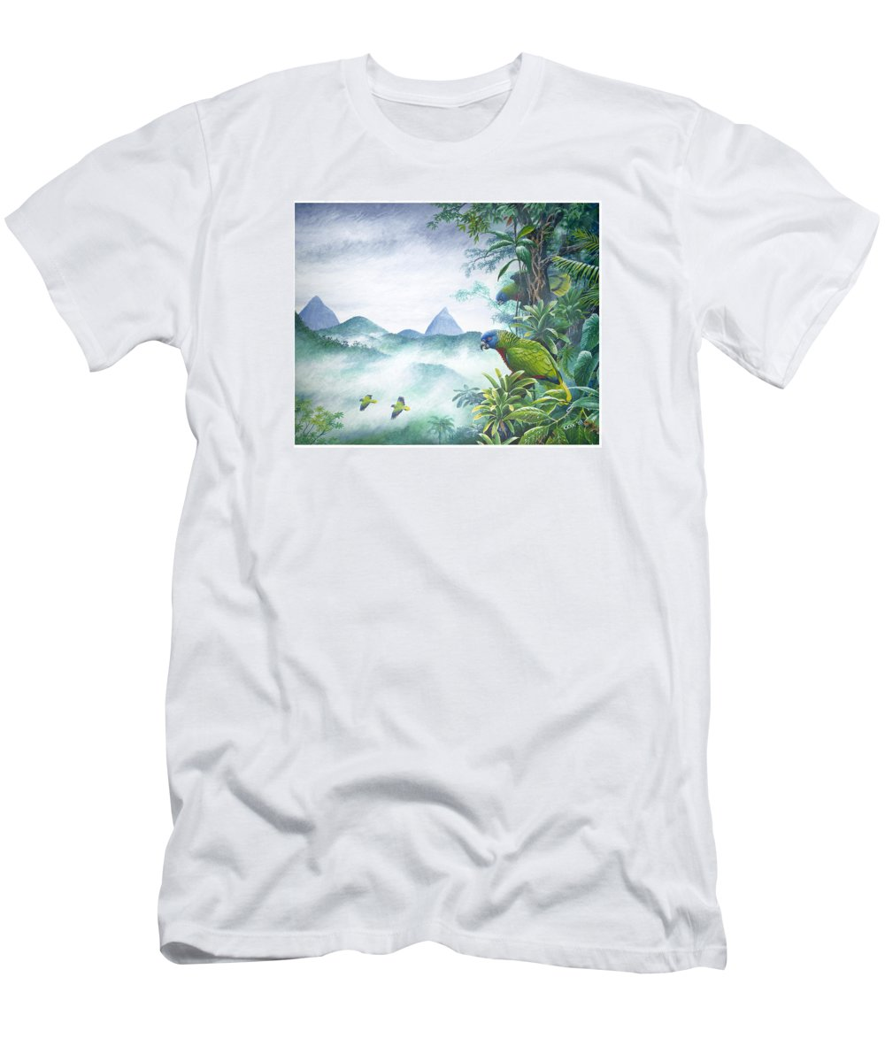 Chris Cox Men's T-Shirt (Athletic Fit) featuring the painting Rainforest Realm - St. Lucia Parrots by Christopher Cox