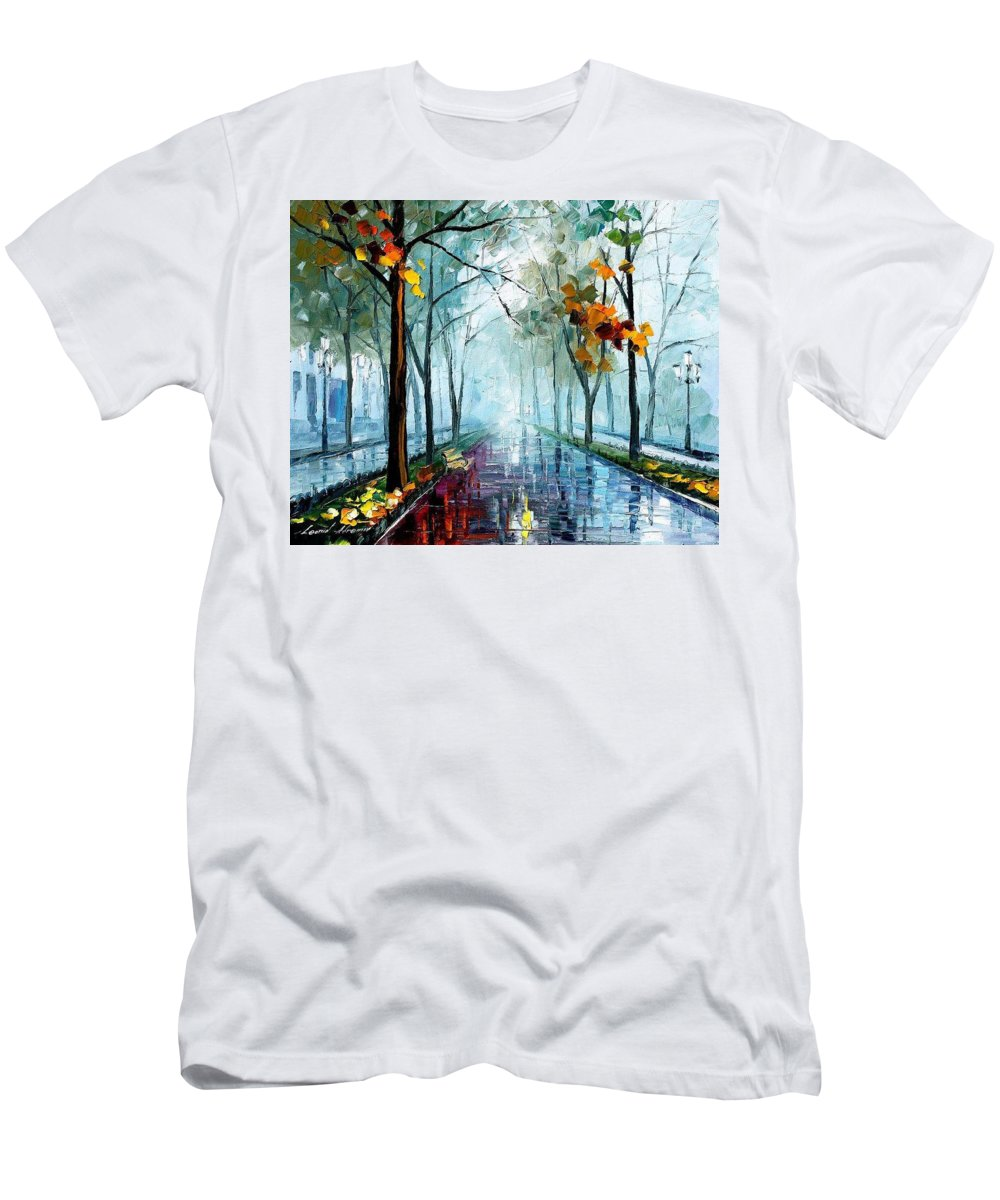 Oil Paintings Men's T-Shirt (Athletic Fit) featuring the painting Rainy Day - Palette Knife Oil Painting On Canvas By Leonid Afremov by Leonid Afremov
