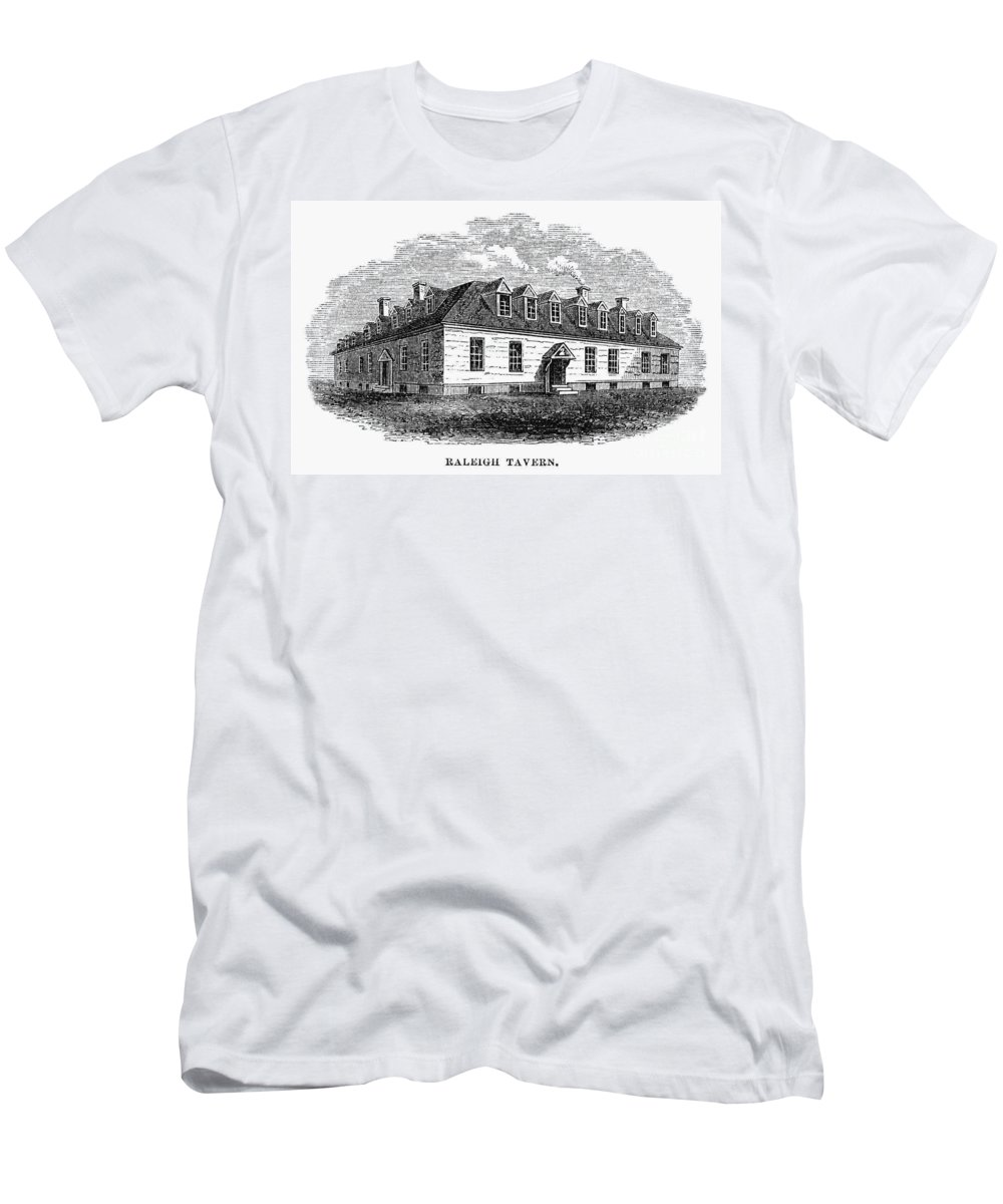 1770s Men's T-Shirt (Athletic Fit) featuring the photograph Raleigh Tavern, 1770s by Granger