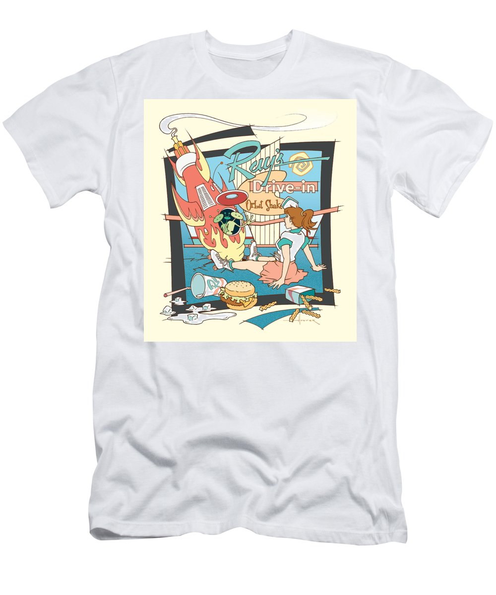 Mid Century Men's T-Shirt (Athletic Fit) featuring the drawing Ray's Drive-in - Brunette by Larry Hunter