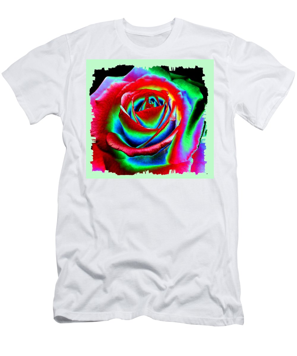 Razzle Dazzle Rose Men's T-Shirt (Athletic Fit) featuring the digital art Razzle Dazzle Rose by Will Borden