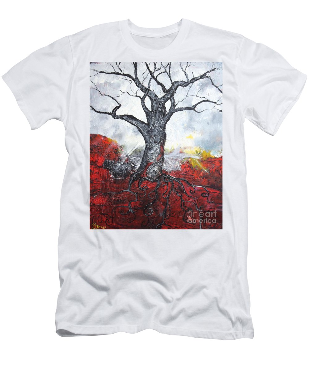 Impressionism Men's T-Shirt (Athletic Fit) featuring the painting Read My Bark by Stefan Duncan