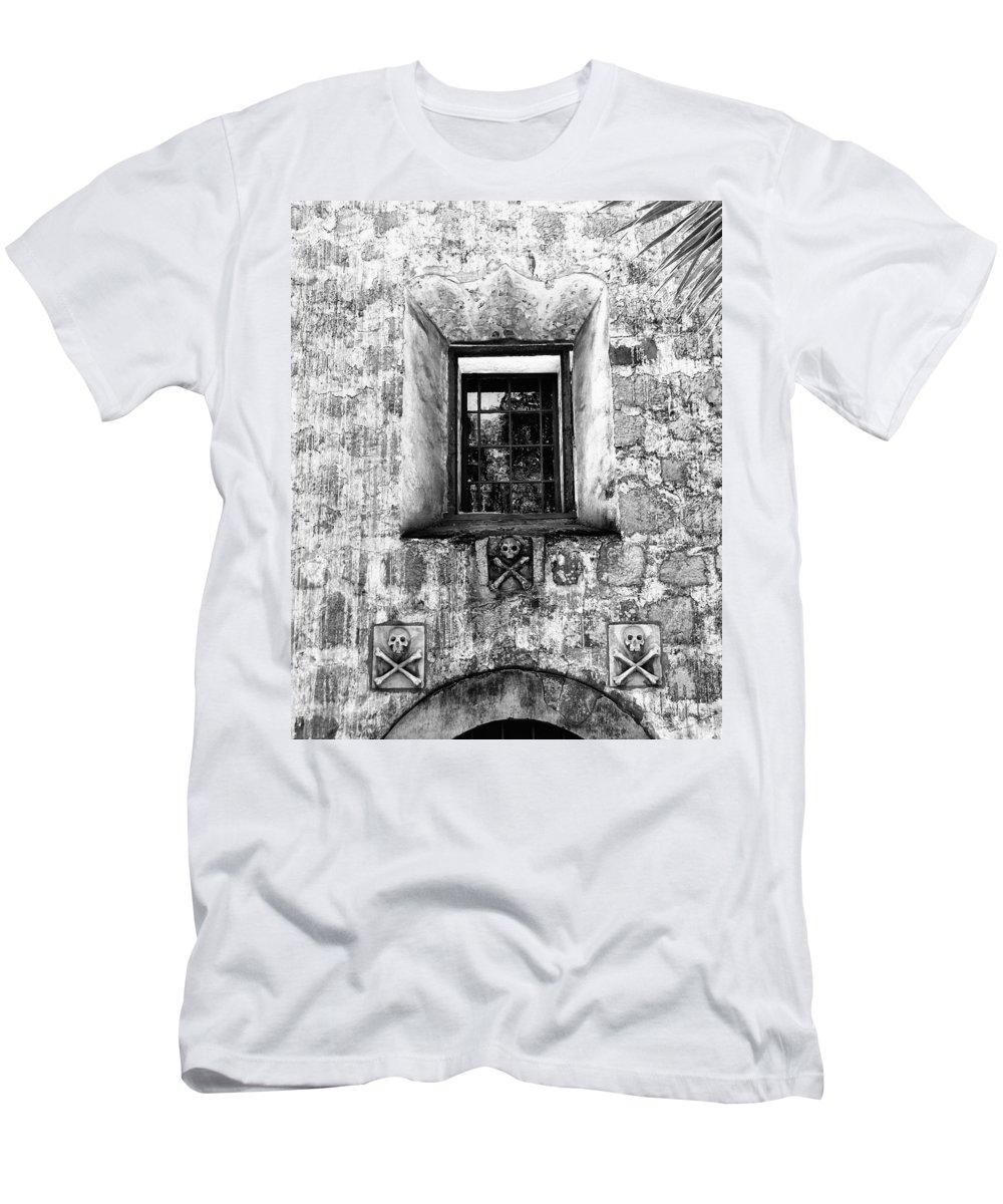 Santa Barbara Men's T-Shirt (Athletic Fit) featuring the photograph Rear Window Bw Santa Barbara by William Dey