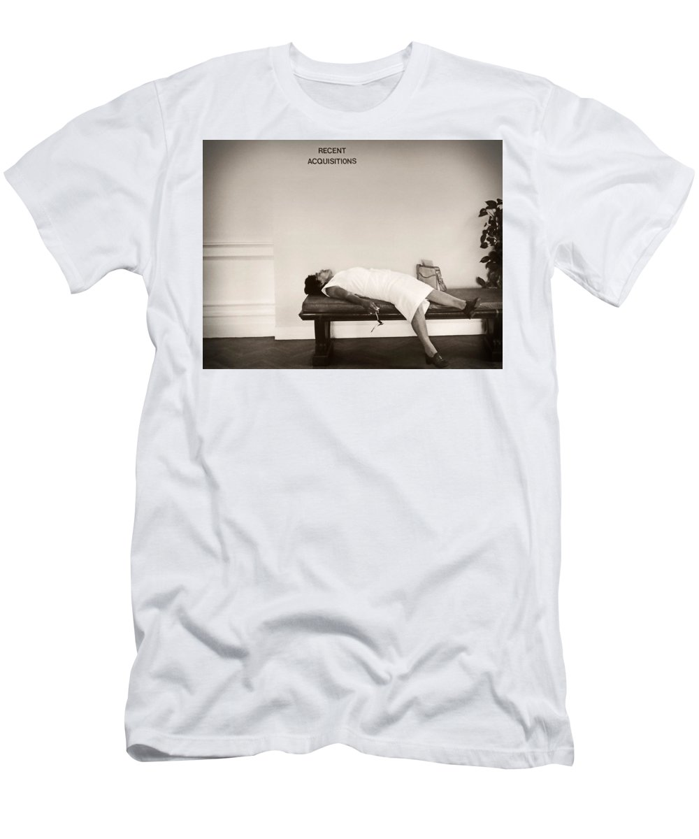 Recent Acquisitions Men's T-Shirt (Athletic Fit) featuring the photograph Recent Acquisitions Vintage Documentary Type Photo Woman In Repose by Donna Haggerty