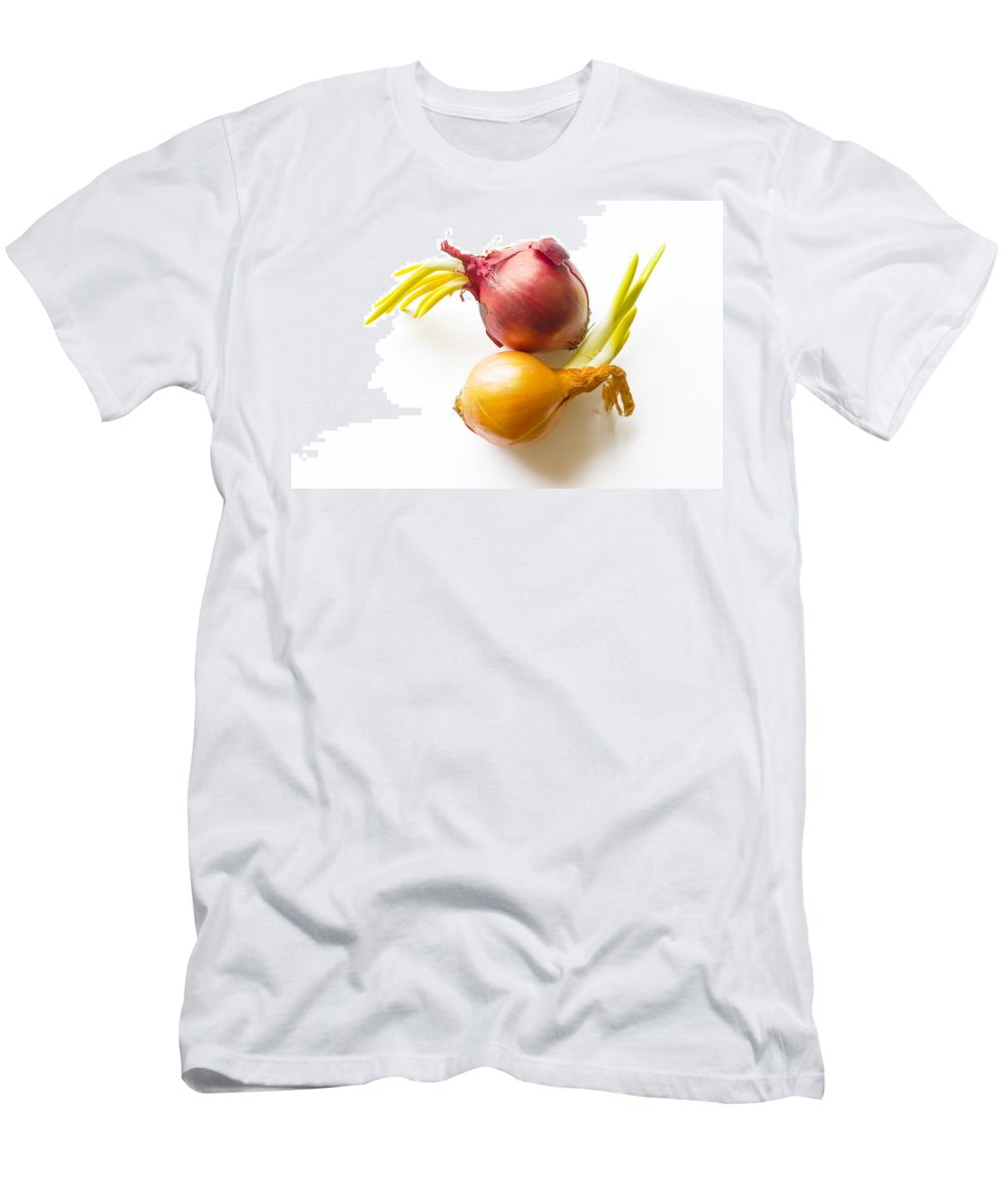 Cuisine Men's T-Shirt (Athletic Fit) featuring the photograph Red And Yellow Onion With Sprout by Alain De Maximy