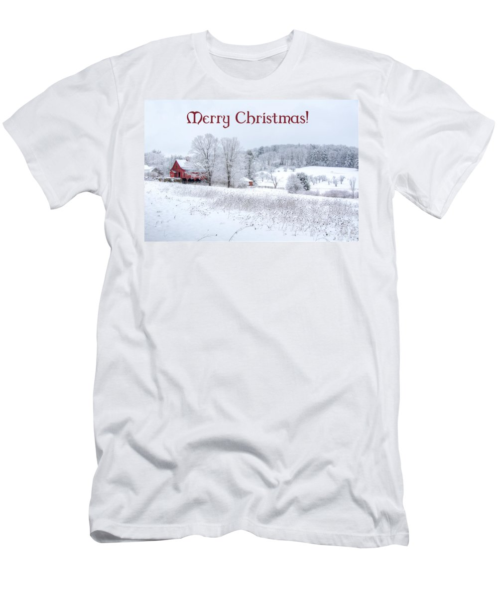 Card. Cards Men's T-Shirt (Athletic Fit) featuring the photograph Red Barn Christmas Card by Donna Doherty